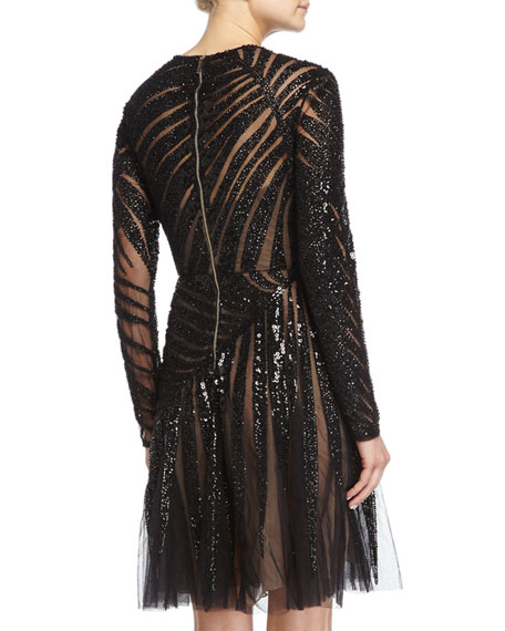 Long-Sleeve Linear-Beaded Dress, Black