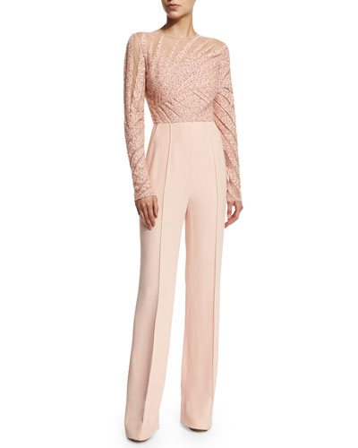 Long-Sleeve Embellished Jumpsuit, Melrose