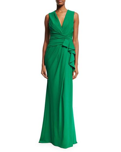 Sleeveless Ruffle-Waist Gown, Palm