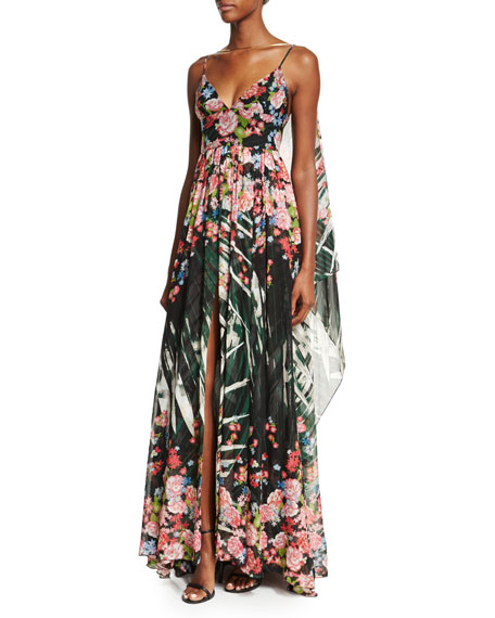 Sleeveless Floral-Print A-Line Gown, Palm Print
