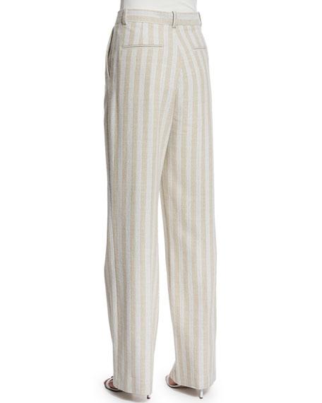 Striped Wide-Leg Trousers, Natural Stripe