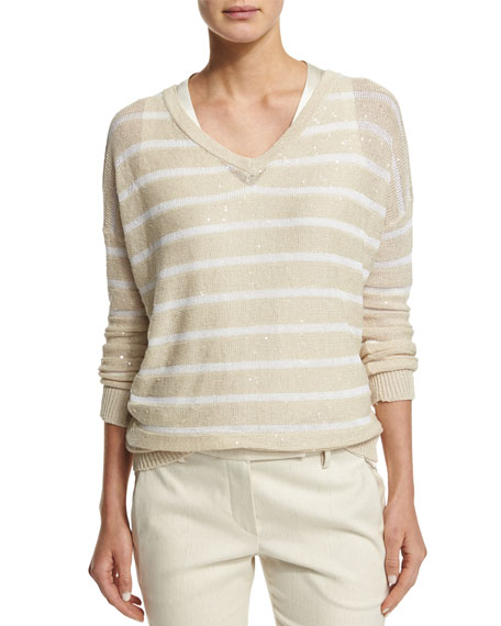 Brunello Cucinelli Striped Paillette-Embellished V-Neck Sweater, Butter/White
