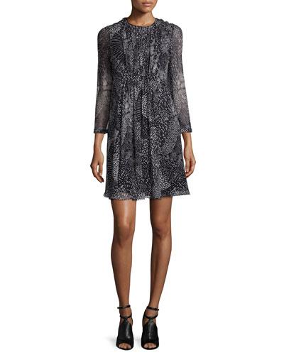 Gathered-Front Silk Dress