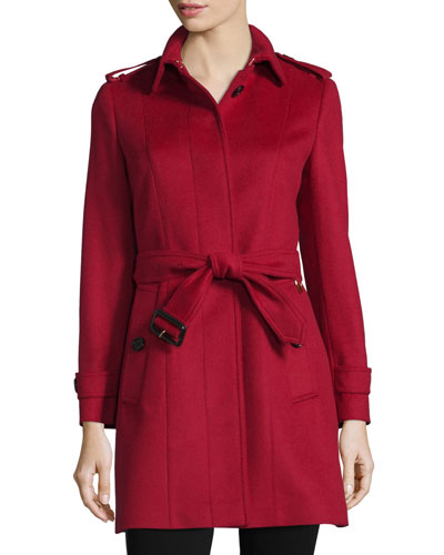 Pleated-Back Belted Trenchcoat, Parade Red
