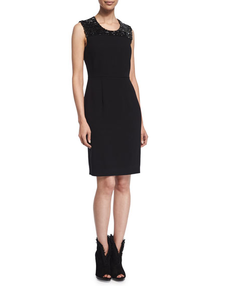 Burberry London Embellished Cocktail Sheath Dress, Black