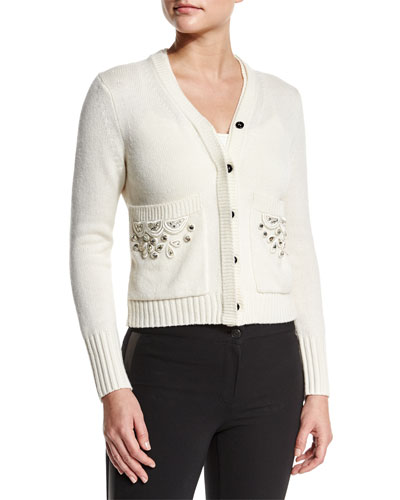 Button-Front Cardigan W/Embellished Pockets, Natural White