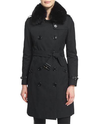 Kensington Trenchcoat W/Fur Collar, Black