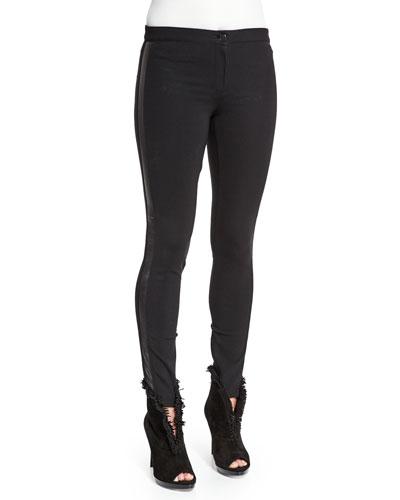Low-Rise Leggings W/Racing Strip, Black