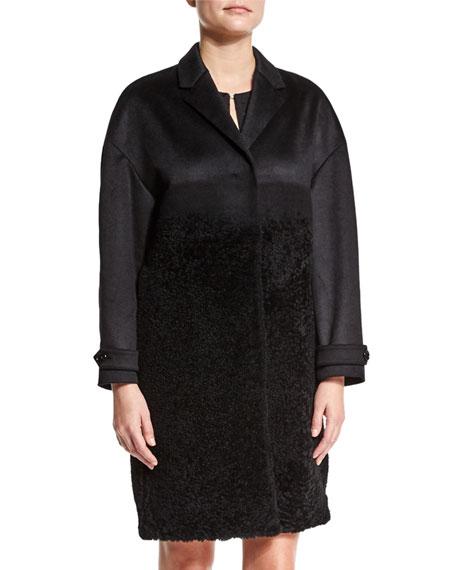 Burberry LondonCashmere/Fur Long Coat, Black