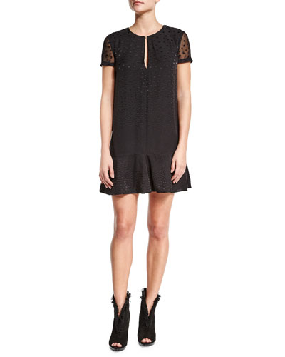 Short-Sleeve Dot-Print Dress, Black