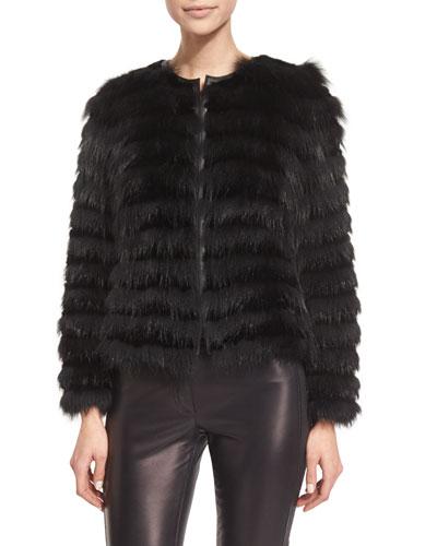 Horizontal-Striped Fur Coat, Black