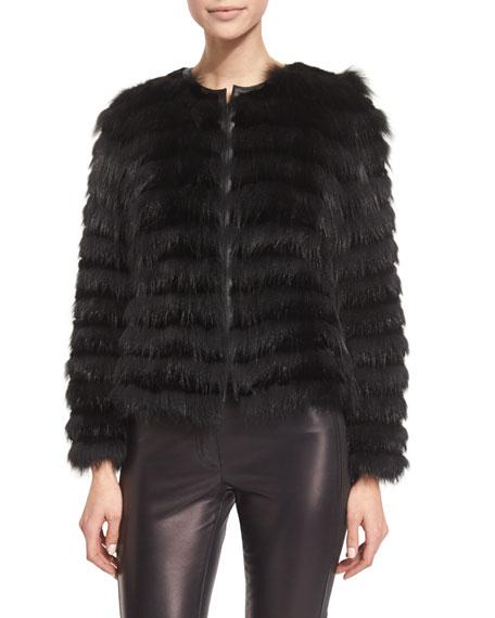 Burberry London Horizontal-Striped Fur Coat, Black