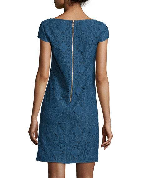 Cap-Sleeve Lace Shift Dress, Iris Blue