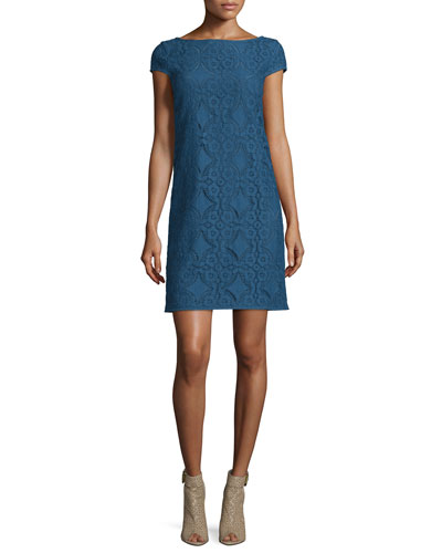 Cap-Sleeve Lace Shift Dress, Iris Blue