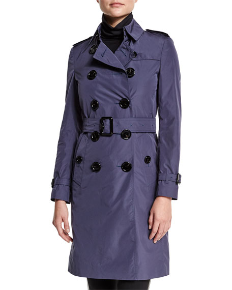 Burberry London Double-Breasted Belted Trench Coat, Dark Heather