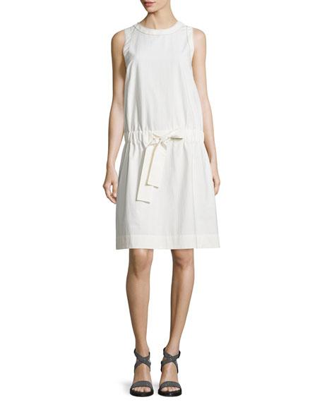 Brunello Cucinelli Sleeveless Monili-Trim Shift Dress, White