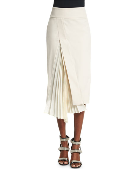 Brunello Cucinelli Accordion-Slit Pencil Skirt, Vanilla