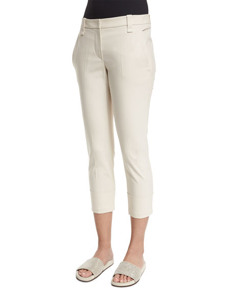 Brunello Cucinelli Cropped Stretch-Twill Pants, Twine
