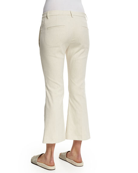 Flare-Leg Cropped Tuxedo Pants, Butter