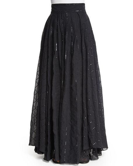 Brunello Cucinelli High-Waist Paillette-Stripe Ball Skirt, Volcano
