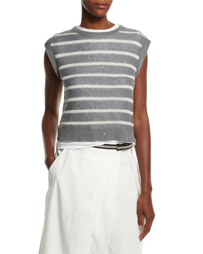 Cap-Sleeve Striped Metallic Pullover, Slate