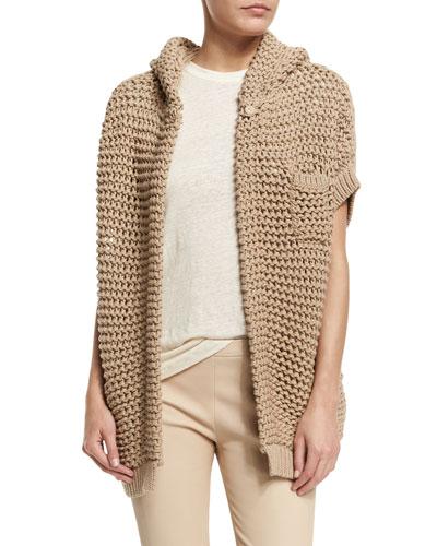 Short-Sleeve Hooded Cardigan, Twine
