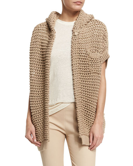 Brunello Cucinelli Short-Sleeve Hooded Cardigan, Twine
