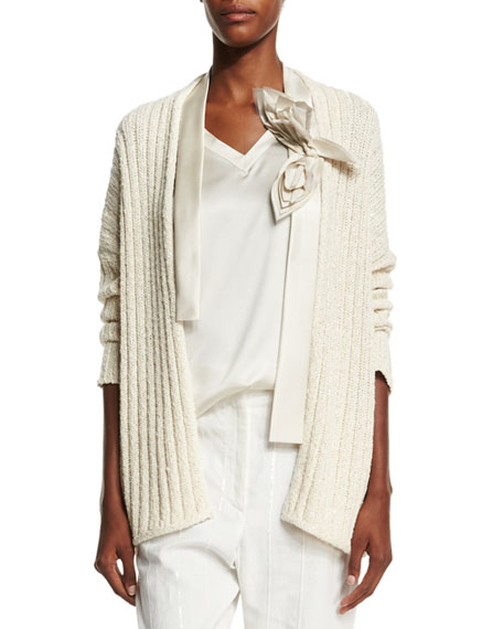 Brunello Cucinelli Ribbed Cardigan W/Flower Detail, Butter