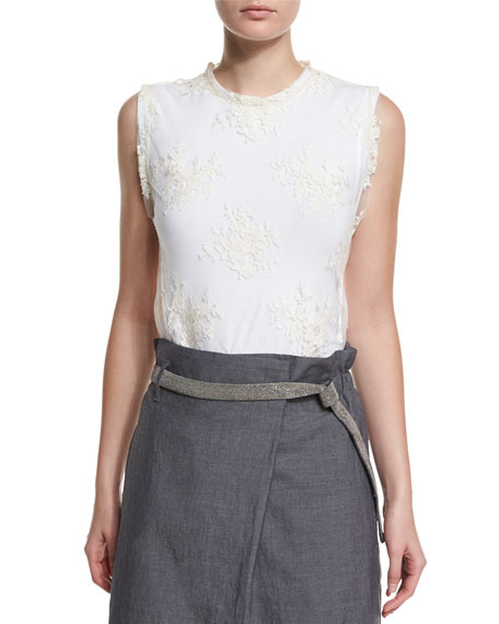 Brunello Cucinelli Jewel-Neck Lace-Overlay Tank Top, Butter
