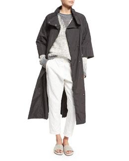 3/4-Sleeve Long Belted Anorak Jacket, Slate