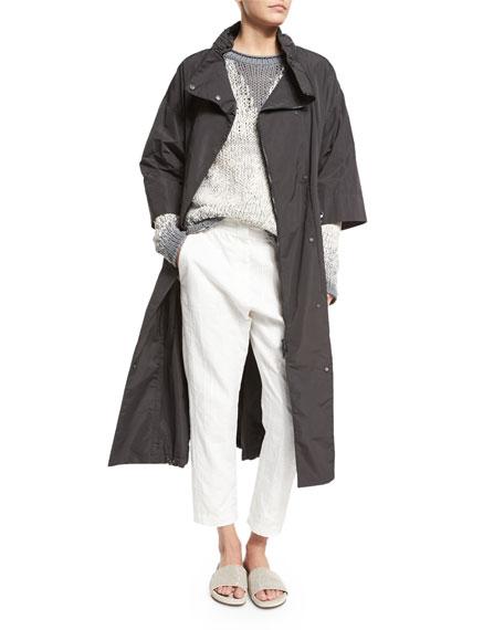 Brunello Cucinelli 3/4-Sleeve Long Belted Anorak Jacket, Slate