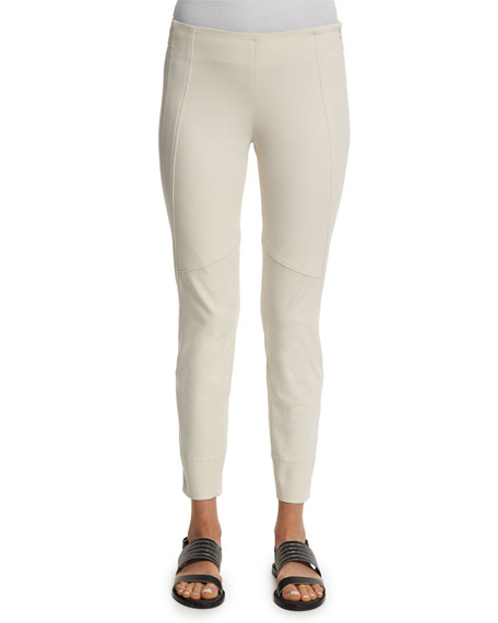 Brunello CucinelliMid-Rise Side-Zip Leggings, Vanilla