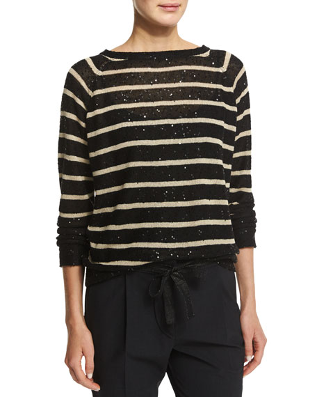 Brunello Cucinelli Long-Sleeve Striped Paillette Pullover, Black