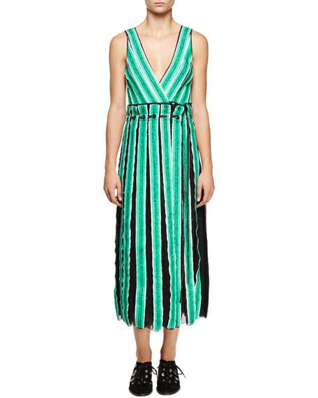 Proenza Schouler Sleeveless Wrap Midi Dress, Mint/White/Black
