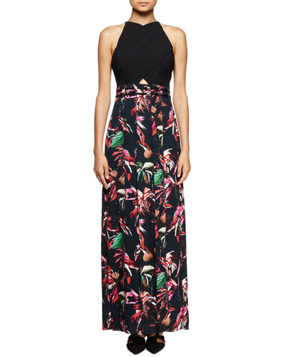 Tropical-Print Sleeveless Maxi Dress, Navy/Red/Pink
