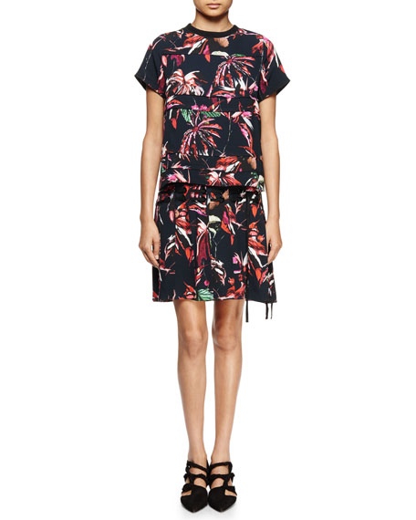 Proenza Schouler Tropical-Print Short-Sleeve Shirtdress,