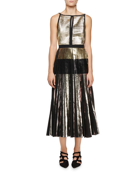 Proenza Schouler Sleeveless Metallic-Cloque Dress, Silver/Black