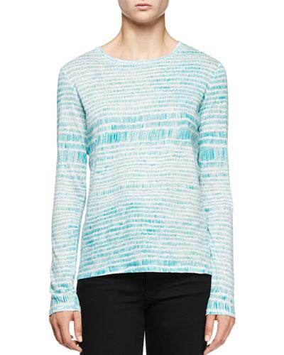 Long-Sleeve Multi-Striped T-Shirt, Light Blue/Turquoise