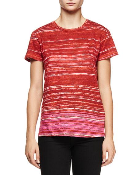 Proenza Schouler Short-Sleeve Multi-Striped T-Shirt, Red