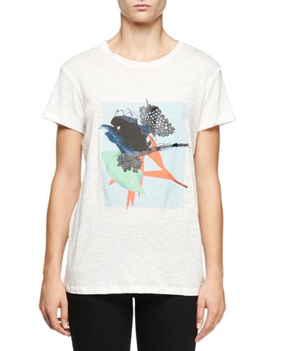 Short-Sleeve Ikebana-Print T-Shirt, Light Blue