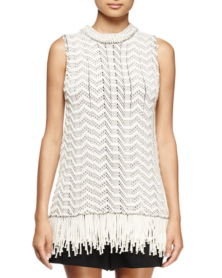 Proenza Schouler Sleeveless Fringe-Hem Top, Off White/Black