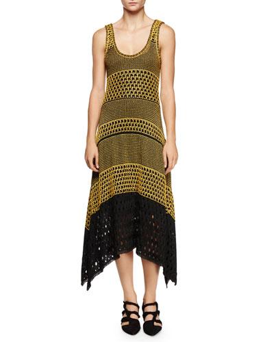 Sleeveless Scoop-Neck Colorblock Dress, Yellow/Black