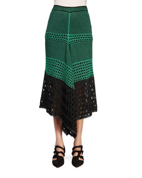 Proenza Schouler Handkerchief-Hem Midi Skirt, Deep Mint/Black