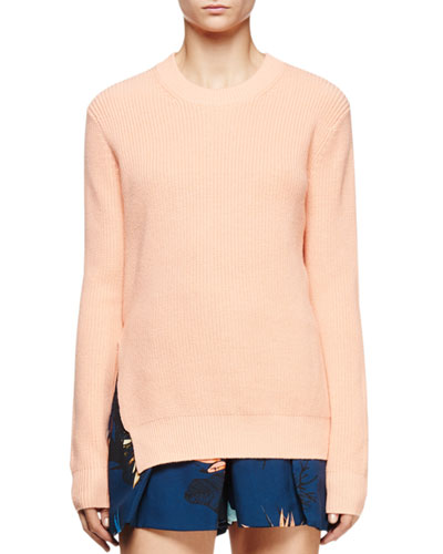 Long-Sleeve Cross-Back Ribbed Sweater, Coral