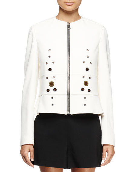 Long-Sleeve Grommet-Detail Jacket, White