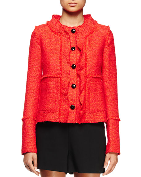 Proenza Schouler Long-Sleeve Ruffle-Front Jacket, Electric Red