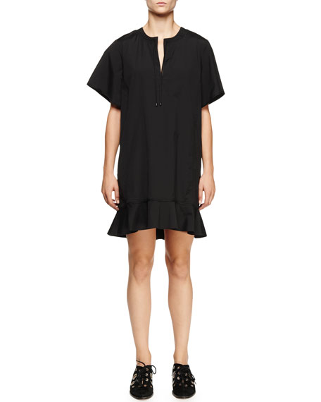 Proenza Schouler Short-Sleeve Peplum-Hem Dress, Black