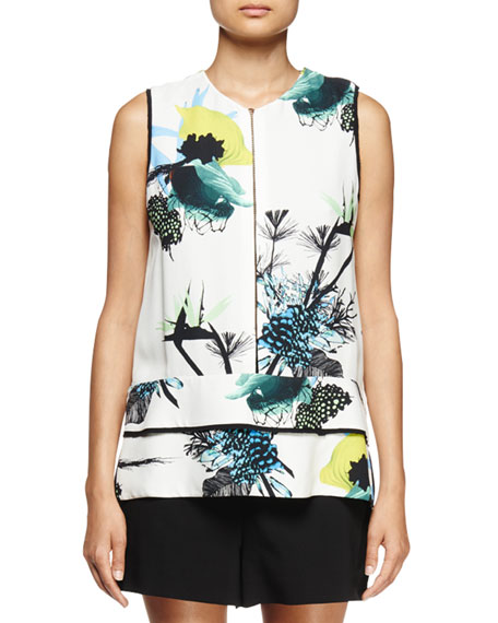 Sleeveless Ikebana-Print Blouse, White/Blue/Green