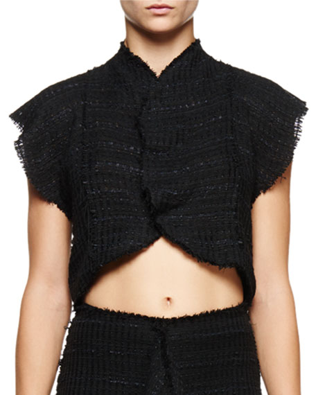 Flutter-Sleeve Cropped Blouse, Black