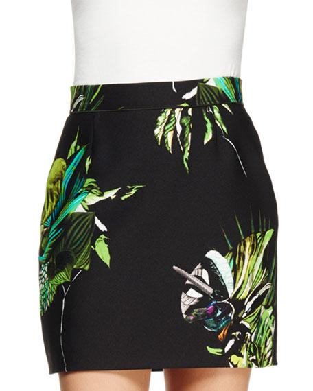 Floral Photo-Print Mini Skirt, Black/Green/Chartreuse